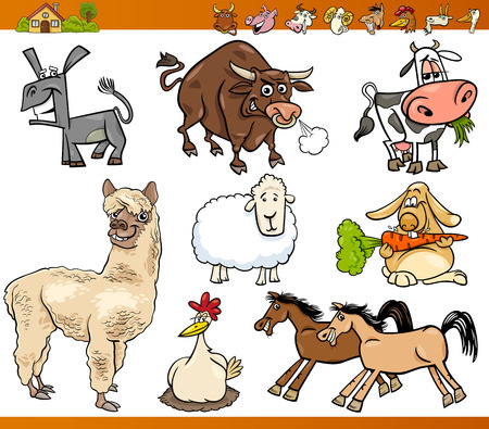 Cartoon Illustration Set of Funny Farm Animals Characters