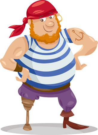 Cartoon Illustration of Funny Pirate Officer with Peg Leg
