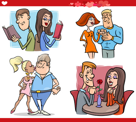 Cartoon Illustration of Happy Couples in Love on Valentines Day or Valentine Cards Vector