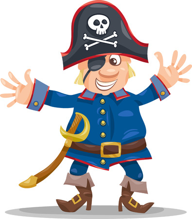 Cartoon Illustration of Funny Pirate or Corsair Captain with Eye Patch and Jolly Roger