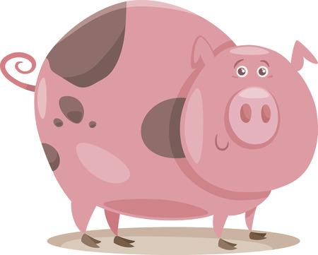 porker: Cartoon Illustration of Funny Pig Farm Animal in Mud