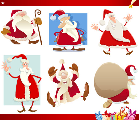 Cartoon Illustration of Santa Claus with Presents and Christmas Themes Set Vector