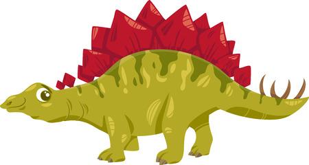 stegosaurus: Cartoon Illustration of Stegosaurus Prehistoric Dinosaur Illustration