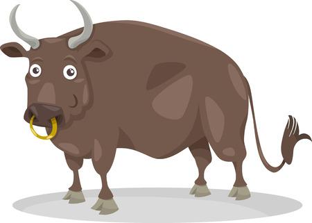 bullock: Cartoon Illustration of Funny Bull Farm Animal