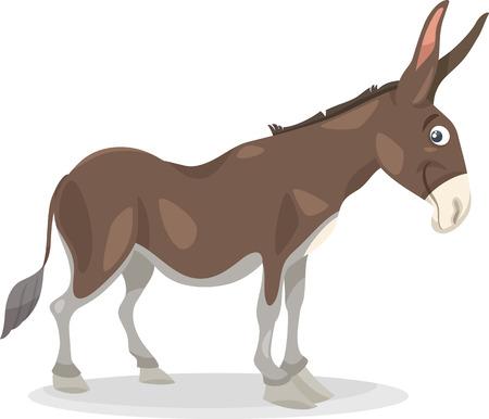 ears donkey: Cartoon Illustration of Funny Donkey Farm Animal