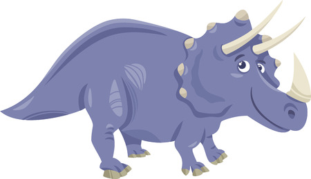 triceratops: Cartoon Illustration of Triceratops Prehistoric Dinosaur