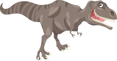 mesozoic: Cartoon Illustration of Tyrannosaurus Dinosaur Prehistoric Reptile Species