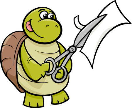 Cartoon Illustration of Funny Turtle Animal Character Cutting Paper with Scissors Vector