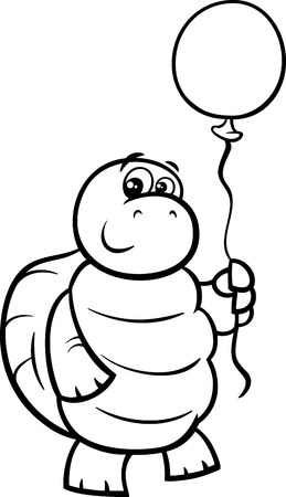 Black and White Cartoon Illustration of Funny Turtle Animal Character with Balloon for Coloring Book Vector