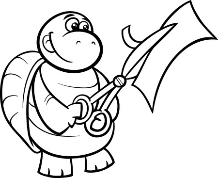 Black and White Cartoon Illustration of Funny Turtle Animal Character Cutting Paper with Scissors for Coloring Book Vector