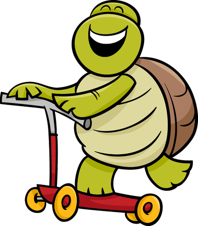 Cartoon Illustration of Funny Turtle Animal Character Riding on Scooter