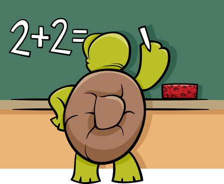 Cartoon Illustration of Funny Turtle Animal Character Solving a Math Problem at Blackboard