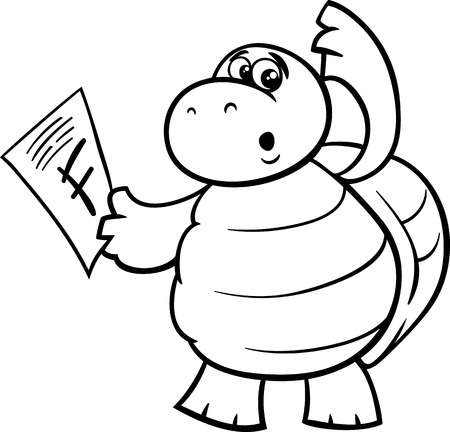 book mark: Black and White Cartoon Illustration of Funny Turtle Animal Character with F mark on a Test for Coloring Book