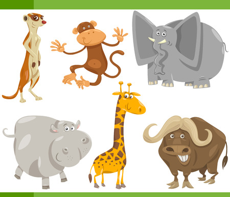 Cartoon Illustration of Funny Wild Safari Animals Set Vector