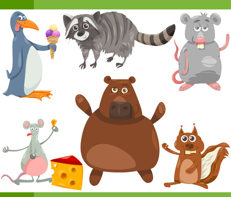 cartoon ice cream: Cartoon Illustration of Funny Wild Animals Set