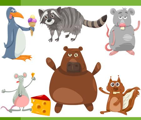 fairytale character: Cartoon Illustration of Funny Wild Animals Set