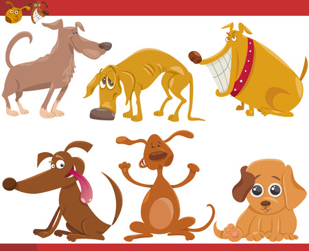 group of pets: Cartoon Illustration of Happy Dogs or Puppies Pets Set