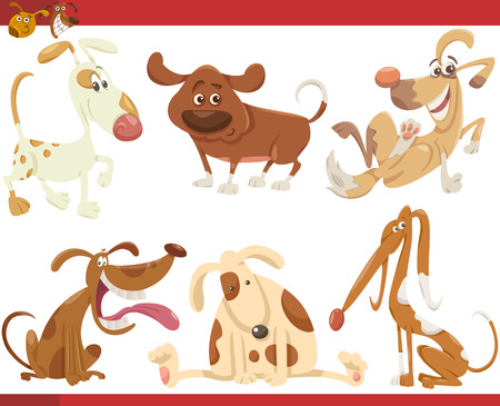 puppies: Cartoon Illustration of Happy Dogs or Puppies Pets Set