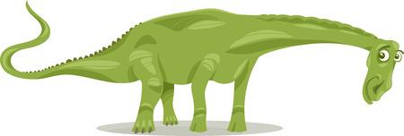 doomed: Cartoon Illustration of Diplodocus Dinosaur Prehistoric Reptile Species Illustration