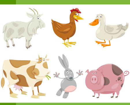Cartoon Illustration of Funny Farm Animals Set Vector