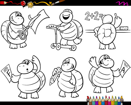 Coloring Book or Page Cartoon Illustration of Black and White Funny Turtle Animal Character at School for Children Vector