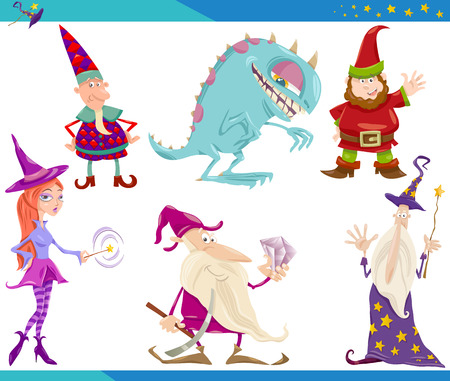 Cartoon Illustrations Set of Fairytale or Fantasy Characters Vector
