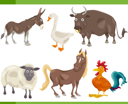 Cartoon Illustration of Funny Farm Animals Set