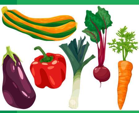 Cartoon Illustration Set of Vegetables Food Objects Vector