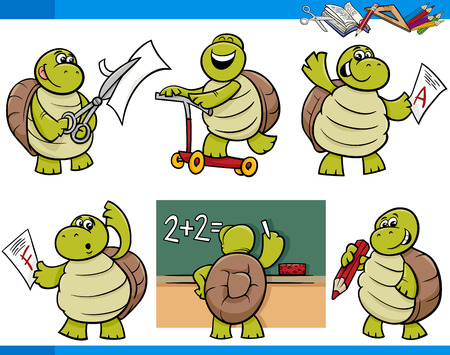 Cartoon Illustration of Turtle Animal Character School Student Set Illustration