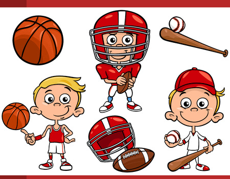 Cartoon Illustration of Funny Boy with American Football and Basketball and Baseball Sport Equipment Vector