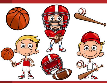 deportes caricatura: Ejemplo de la historieta de Funny Boy con F�tbol americano y baloncesto y b�isbol Equipo de Deporte