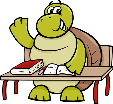 Cartoon Illustration of Funny Turtle Animal Character Raising Hand on the Lesson Illustration