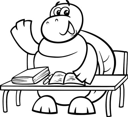 Black and White Cartoon Illustration of Funny Turtle Animal Character Raising Hand on the Lesson for Coloring Book