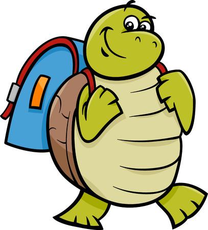 Cartoon Illustration of Happy Turtle Animal Character with Satchel or School Bag