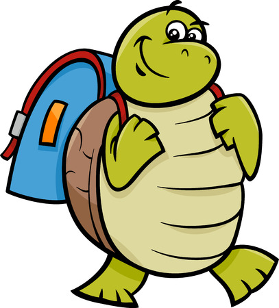 niños saliendo de la escuela: Ejemplo de la historieta de Carácter tortuga feliz con la taleguilla animal o bolso de escuela