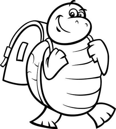 Black and White Cartoon Illustration of Happy Turtle Animal Character with Satchel or School Bag for Coloring Book