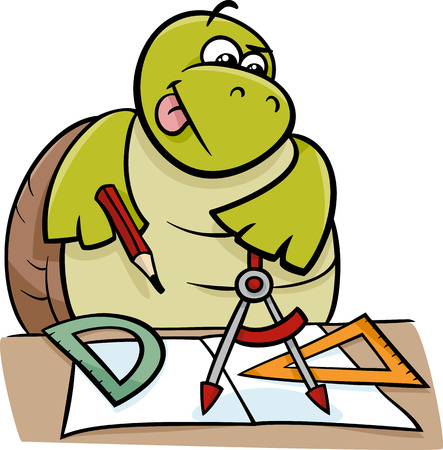 protractor: Cartoon Illustration of Funny Turtle Animal Character on Geometry Lesson with Calipers and Setsquare