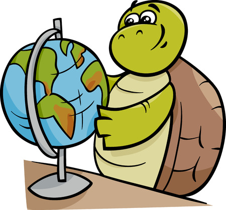 school globe: Cartoon Illustration of Funny Turtle Animal Character with School Globe
