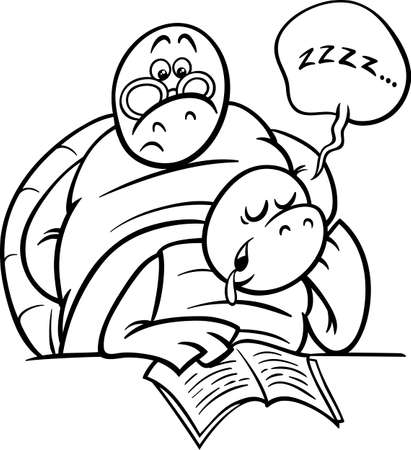 Black and White Cartoon Illustration of Funny Turtle Animal Character Sleeping in Classroom for Coloring Book Vector