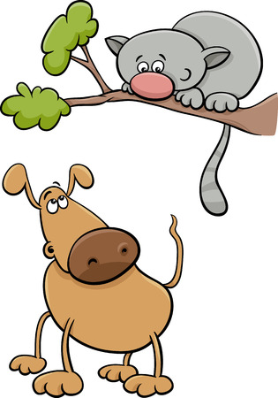 mongrel: Cartoon Illustration of Funny Dog Character and Cat on a Tree Branch