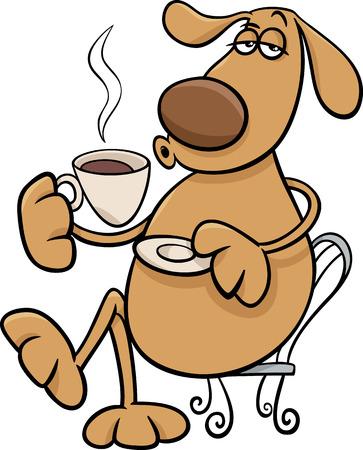 コーヒーを飲むおかしい犬のキャラクターの漫画イラスト