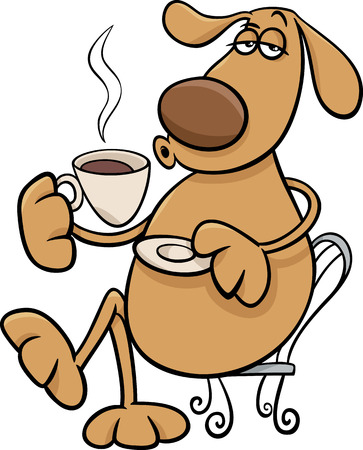 hot dog: Cartoon Illustration of Funny Dog Character Drinking Coffee