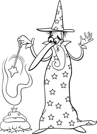 enchanted: Black and White Cartoon illustration of Fantasy Wizard with Magic Wand Casting a Spell and Enchanted Frog for Coloring Book Illustration