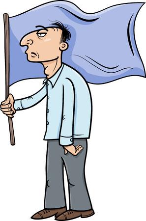 caricaturas de personas: Cartoon Ilustración de hombre con una bandera Vectores
