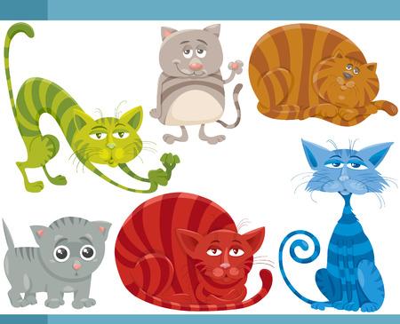 gray tabby: Cartoon Illustration of Funny Cats or Kittens Pets Set