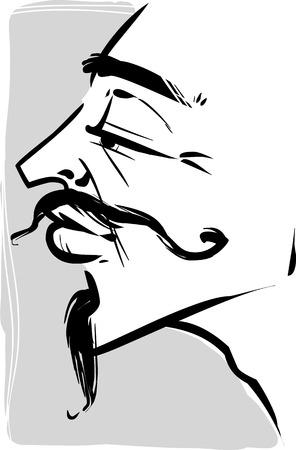 mosquetero: Sketch Dibujo Ilustración de la vendimia del hombre joven con barba y bigote o mosquetero