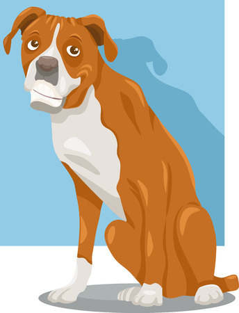 piebald: Cartoon Illustration of Funny Purebred Boxer Dog