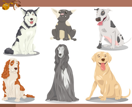 Cartoon Illustration of Funny Purebred Dogs Pets Set Vector