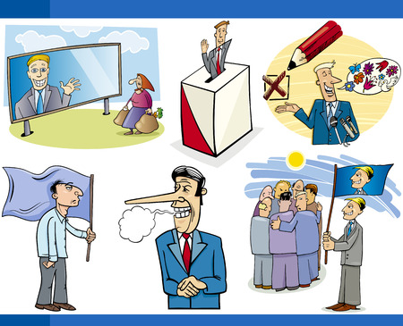 insincere: Illustration Set of Humorous Cartoon Concepts or and Metaphors of Politics and Democracy Illustration
