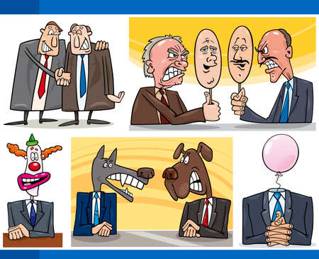 Illustration Set of Humorous Cartoon Concepts or and Metaphors of Politics and Politicians Vector